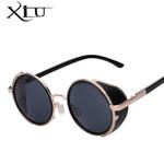 XIU Sunglasses Steampunk Men Sunglass Retro Vintage Round Metal Wrap Sunglasses Brand Designer Glasses UV400