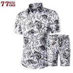 2018 Summer Fashion Floral Print Shirts Men+Shorts Set Men Short Sleeve Shirts Casual Men Clothing Sets Tracksuit Plus Size 5XL
