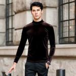 2018 Autumn Brand good quality men's velvet shirts,plus size fashion men velour blouse winter Turtlenecks shirt M-6XL 7XL