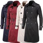 Men Trenchcoat British Style Classic Trench Coat Jacket Double Breasted Long Slim Outwear Adjustable Belt Leather Sleeve Belt