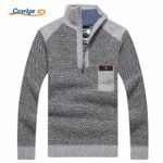 Covrlge Warm Thick Velvet Cashmere Sweaters Men Winter Pullovers Zipper Mandarin Collar Man Casual Clothes Big Size 3XL MZM046