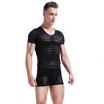 Lace t shirt Sexy Mesh Top Tee Transparent Shirts Bodybuilding Short Sleeve Gay Men Singlets Undershirts Fashion see through