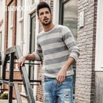 SIMWOOD 2019 Spring New Striped  Sweater Men Contrast Color Slim Fit 100% Cotton O-neck  Plus Size Knitted Pullovers  MT017015