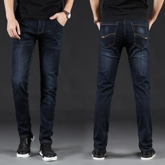 KSTUN Men Jeans Business Casual Straight Slim Fit Blue Black 2019 Denim Pants Trousers Classic Direct Young Man Cotton Cowboys