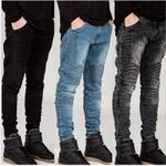 Distressed slim elastic hip hop Washed Pleated jeans