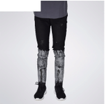Distressed Ripped holes zipper hip hop jeans