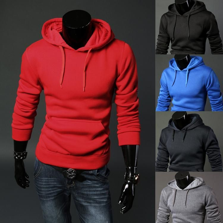 Plain Patchwork Slim Fit Hoodies Sweatshirt