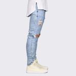 Distressed Ankle Zipper Skinny biker Jeans