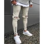Denim Distressed Slim Fit zippers skinny hip hop jeans