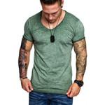 V-Neck Splicing Long line curved hem slim t shirt