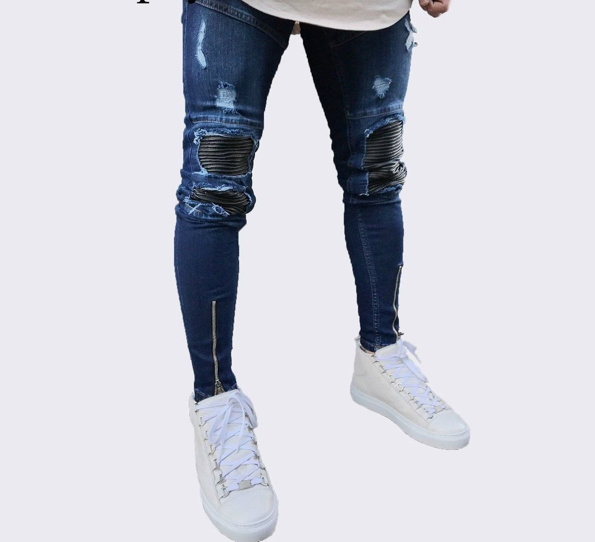 Distressed Pleated patchwork Slim Fit Skinny jeans