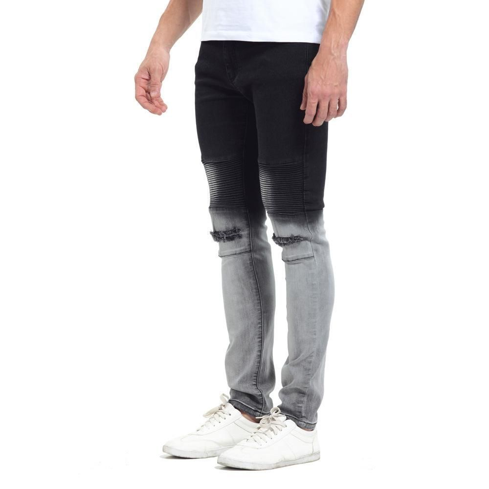 Distressed Ripped holes Gradient color hip hop skinny jeans