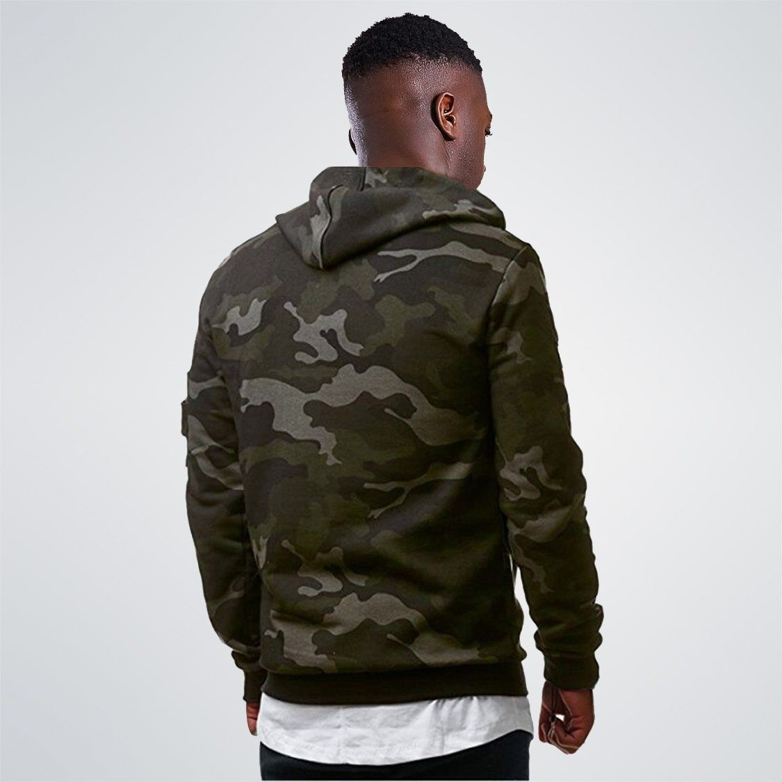 Military Camouflage Sleeve pocket Zipper Hooded Sweatshirts