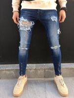 Ripped holes Slim Fit hip hop zipper denim jeans