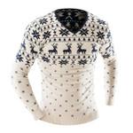 V-neck Long-Sleeved Animal Print Sweater