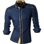 Spring Autumn Features Shirts Men Casual Jeans Shirt Long Sleeve Casual Slim Fit Male Shirts