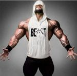 Gyms Clothing Bodybuilding Stringer Hoodie Tank Top Muscle Shirt Fitness Men hooded golds T Shirt Cotton beast printed tops