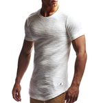 Summer Fashion Casual Men Slim T-Elastic Pure Color Round Neck Curve Hem Short Sleeve Basic T Shirt Brand Tops