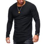 Men Bodybuilding Casual Fitness Long Sleeve Solid Pleated on Shoulder O-Neck Spring Summer T Shirt Men Tops