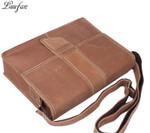 Men's Crazy horse leather messenger bag Cow leather shoulder bags for iPad Vintage school bag with magnetic button flap