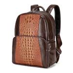 Men Leather Backpack Men Large Capacity Rucksack Shoulder School Bag 3D Crocodile Male Back Pack Mochila Escolar