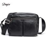 Men Messenger Bag Genuine Leather Men Travel Shoulder Bag Double Zipper Designer Crossbody Bag Business Real Leather