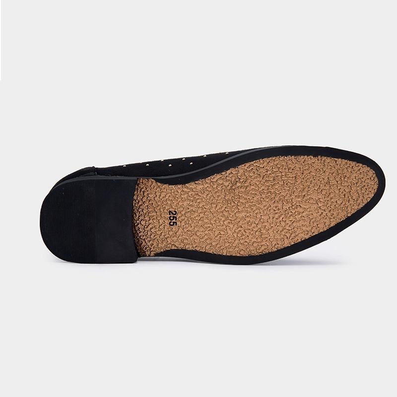 Gold Spike Suede Leather Slip On Shoes