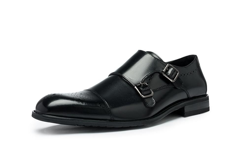 Pointed Toe Buckle Strap Casual Brogue Shoes