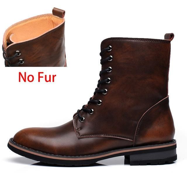 Warm fur Mid-calf Lace-Up Leather Boots