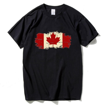 Canadian Leaf  Print Short Sleeve Cotton T-shirt