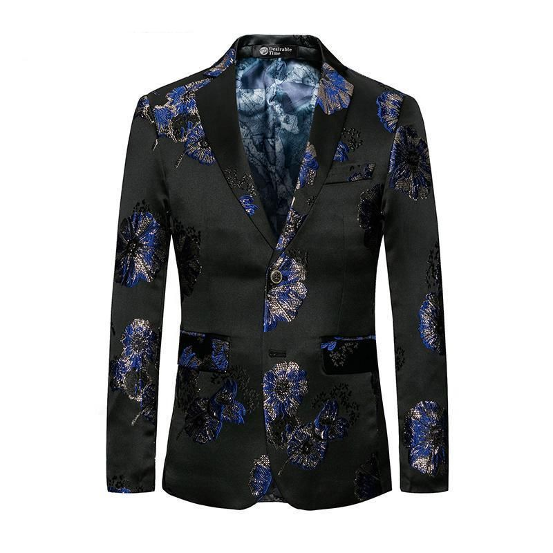 Floral Design Two Button Casual Blazers