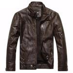 Mandarin Collar Motorcycle Leather Jacket men