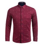 Spring Autumn Dress Shirts Long Sleeve Casual Shirts Polka Dot Flannel Men Slim Fit chemise home