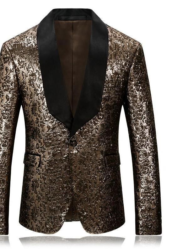 Gold Slim Fit Casual Floral Blazer