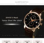 Leather Watchband Chronograph Sports Wrist Watches