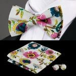 New Arrival Colorful Fashion Bow tie Handkerchief Cuff-links Sets