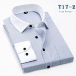 Spring Men Dress Shirts Long Sleeve Non-iron Work Wear Clothing Business Striped Fashion Men Casual Shirts XXL