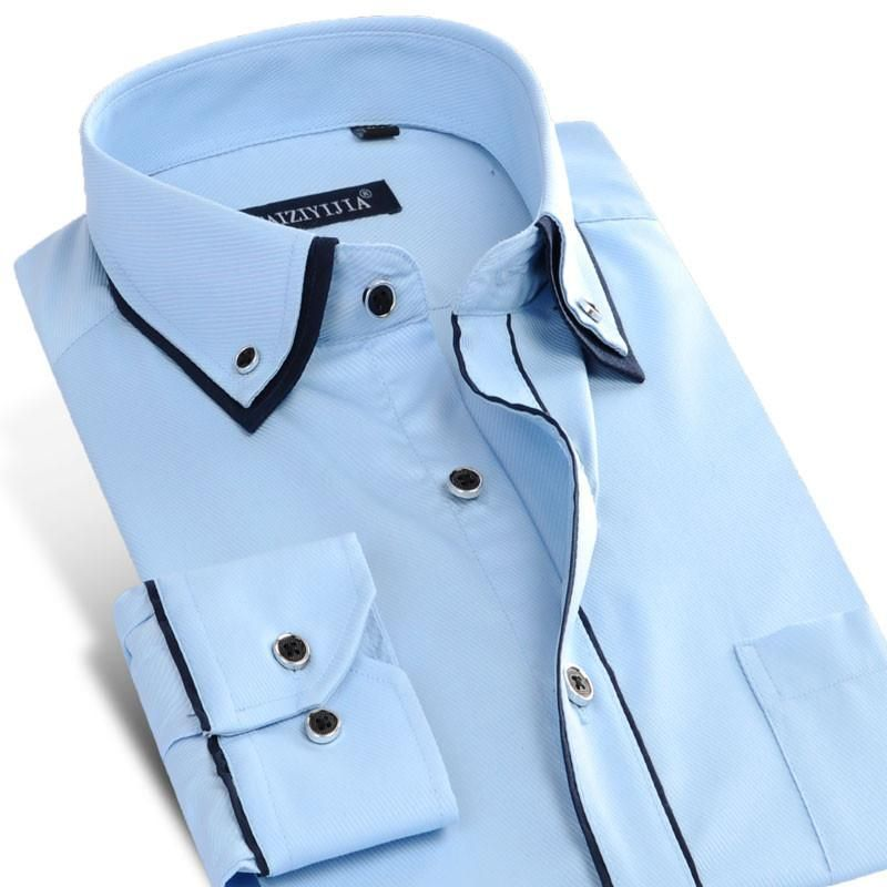 Men's Long Sleeved Double Layer Collar Dress Shirt