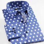 Polka Dot Pattern Soft Slim-fit Casual Shirts
