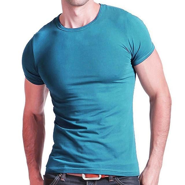 Mens Summer t shirts cotton Men Leisure skintight shirt Male