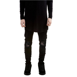 New Black Ripped Jeans Men With Holes Denim Super Skinny Famous Designer Slim Fit Jean Pants Scratched Biker Jeans