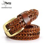 Fashion Men belts luxury genuine leather Brown braided Real Cow skin straps men Jeans Wide girdle Male