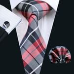 Tie Plaid Fashion Silk Jacquard Woven Tie + Hanky + Cuff link Set For Men Formal Wedding Groom Party