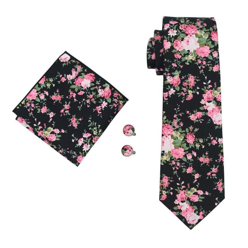 New Arrival Men`s Cotton Tie High Quality Necktie Hanky Cufflink Set For Party Wedding