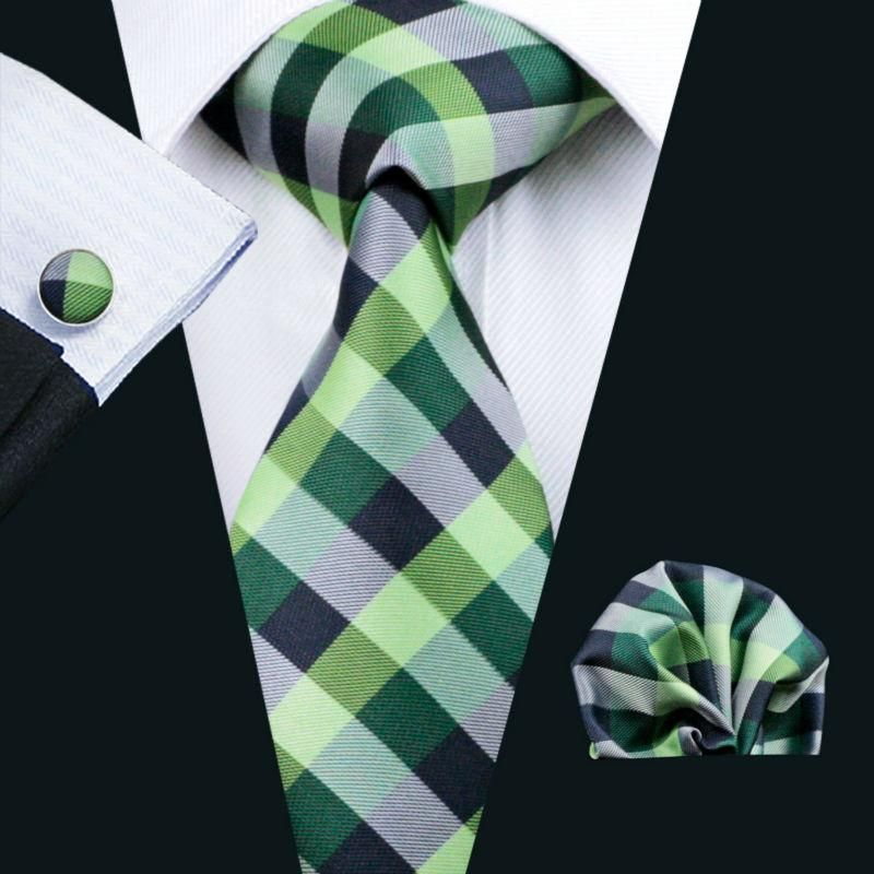 Ties For Man Plaid Classic Green Jacquard Woven 100% Silk Tie Hanky Cufflink Set For Men Formal Wedding Party