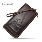 New First Layer Of Real Genuine Leather Men's Retro High-Capacity Multi-Card Long Wallet Clutch Fashion Purse