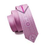 Men`s Tie Skinny Tie Locate Pattern Pink Novelty Narrow Slim Necktie Silk For Wedding Party Business