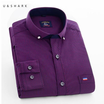 Men Casual Blue Plaid Shirt Long Sleeve Dress Shirt Men Business Formal Shirts Male Clothing Social