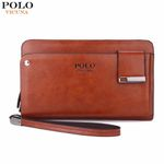 New Arrival  Leather Men's Clutch Wallet With Rotatable Card Holder Famous Leather Men Wallets