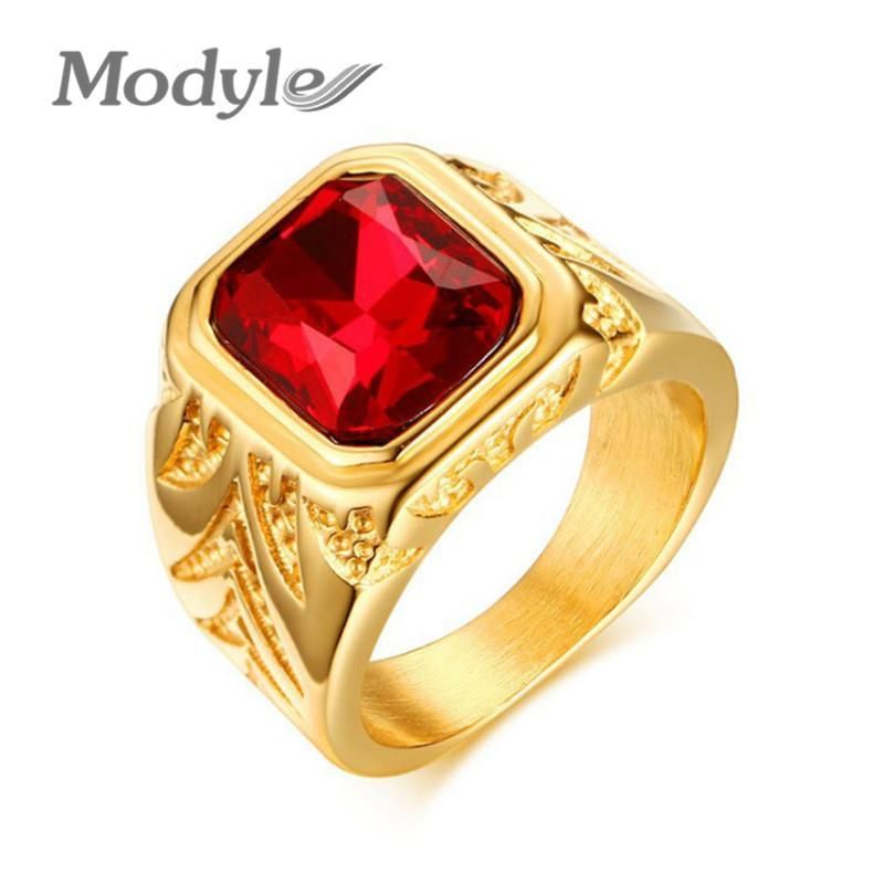 Men Rings Gold-Color Big Red Stone Rings for Men Jewelry Rock Punk Large Wedding Rings
